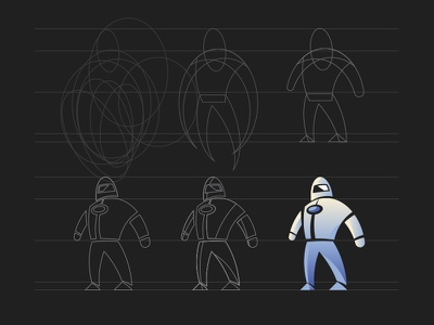 Astronaut Mascot Process step-by-step scifi space illustration process mascot
