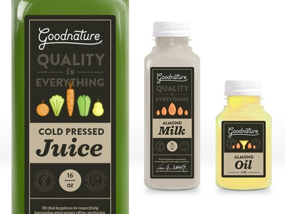 Goodnature Label Design cold pressed juice packaging label icon