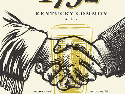 Kentucky Common label beer ale frontier linocut illustration woodcut
