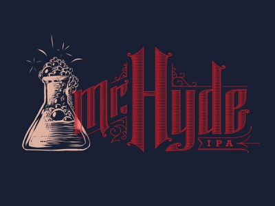 Mr Hyde pale ale ipa beer digital linocut woodcut lettering illustration