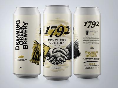 1792 Can Design linocut woodcut ale kentucky packaging design can beer