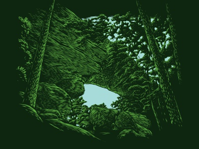 Natural Bridge etching woods forest arches arch kentucky hiking park vector digital linocut illustration engraving woodcut