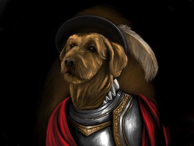 Diego de Northborough, MA classical conquistador dog illustration digital painting portait