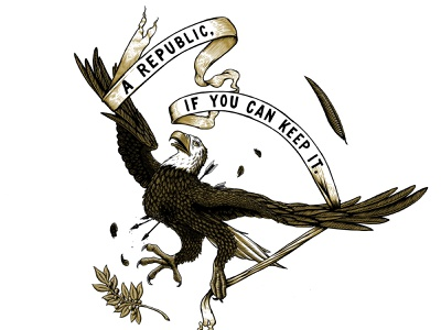 A Republic, If You Can Keep It digital illustration etching engraving patriotic america eagle republic