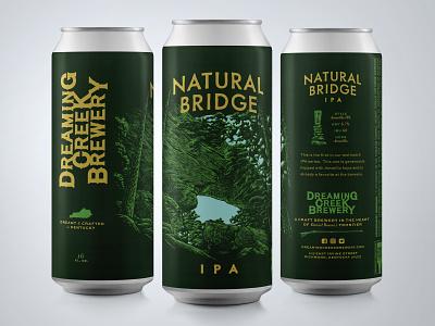 Natural Bridge IPA engraving design label design packaging beer can natural digital illustration woodcut beer