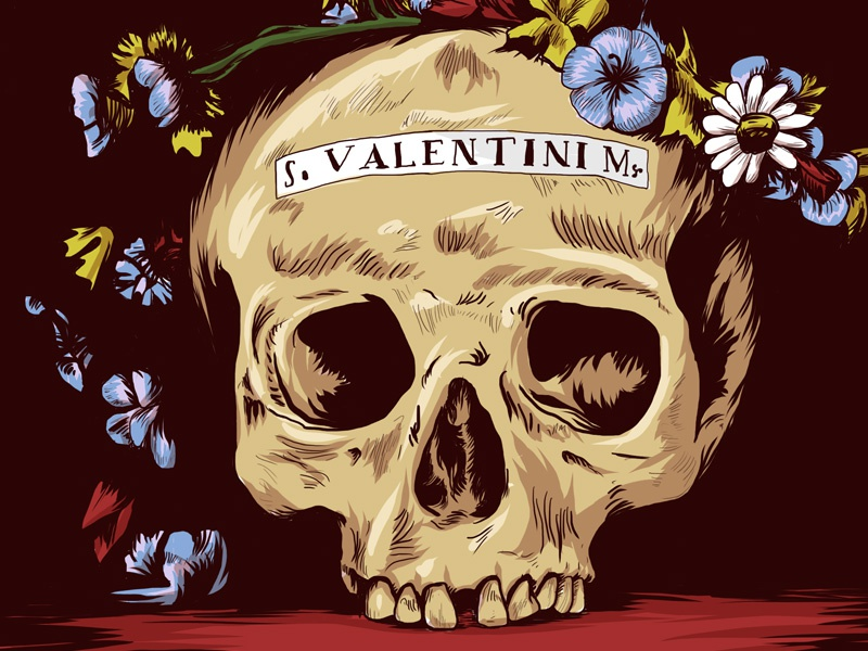 Saint Valentine saint valentine skull flower illustration