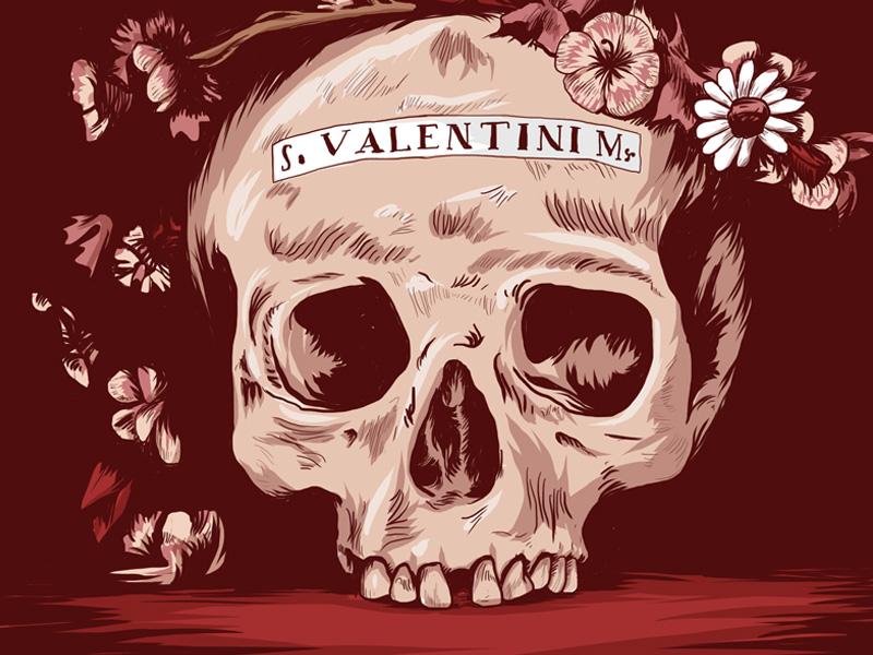 Saint Valentine (Final) saint valentine skull flower illustration