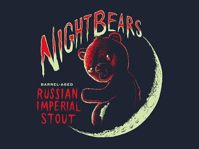 NightBears lettering moon night bear digital illustration woodcut label beer