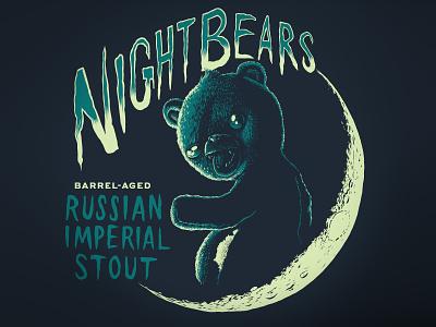 NightBears 2 moon bears night beer branding woodcut lettering digital illustration