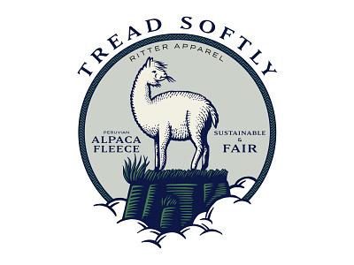 Tread Softly alpaca apparel branding illustration seal logo