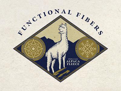 Functional Fibers vector badge seal branding illustration alpaca
