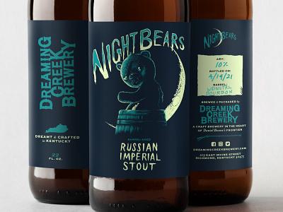 Nightbears Released lettering woodcut digital illustration design label packaging beer illustration
