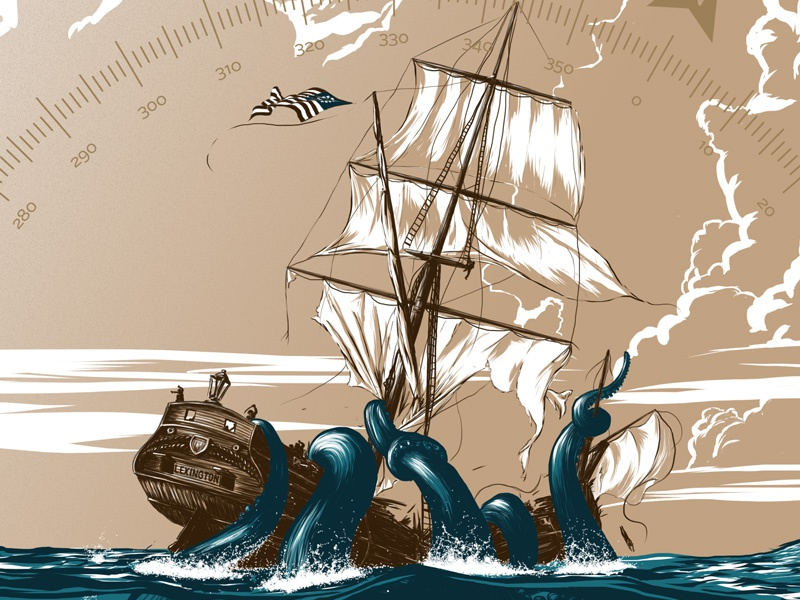 Kraken WIP illustration screenprint ship ocean kraken monster sea flat color