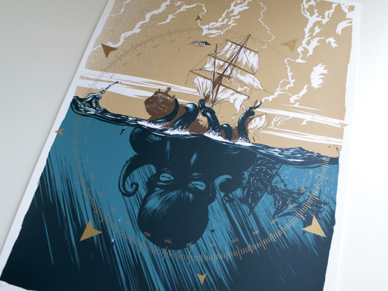 Magnetic North illustration screenprint print ship ocean kraken monster sea