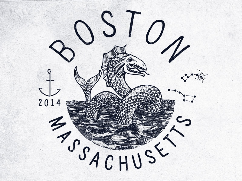 I moved! boston massachusetts sea monster serpent ocean anchor nautical engraving line drawing illustration