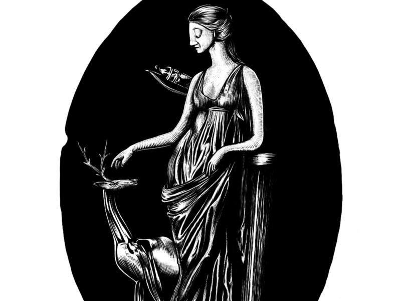 Artemis greek mythology digital illustration scratchboard ptolemaic goddess