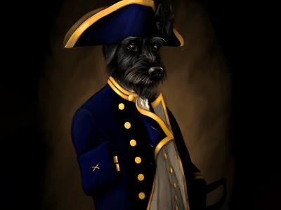 Lord Admiral Hopper admiral navy royal portrait dog digital illustration
