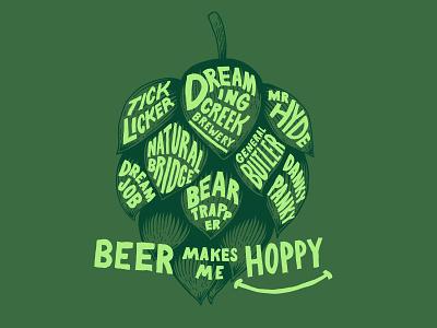 Beer Makes Me Hoppy brewery ipa hops beer tshirts illustration
