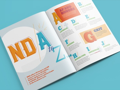 Notre Dame Academy A to Z spread infographic education typography editorial magazine