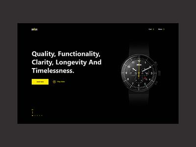 Braun watch - minimal dark website. braun watch web dark web modern website adobexd
