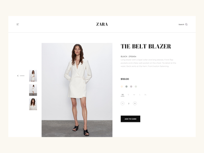 ZARA - Product Page Minimalist Concept. ecommerce design product card product page ui design modern adobe xd