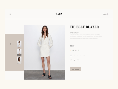 ZARA - Product Page Modern Concept. modern concept ecommerce design product card product page adobe xd modern