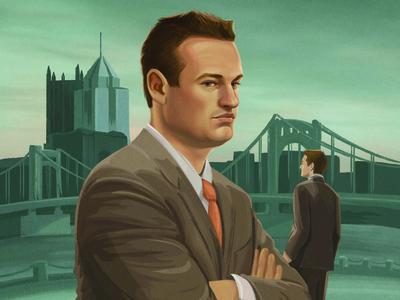 Mayor Luke Ravenstahl pittsburgh portrait illustration