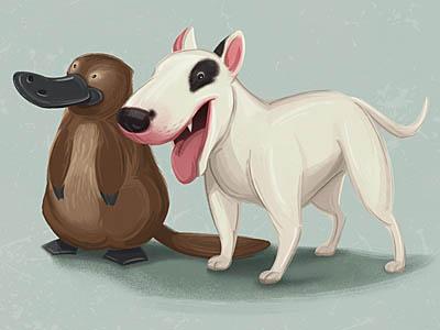 Children's Illustration illustration platypus bull terrier animals