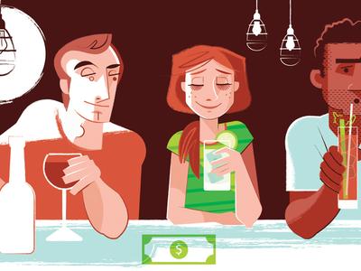 Triathlete Magazine Spot Illustration dating drinking