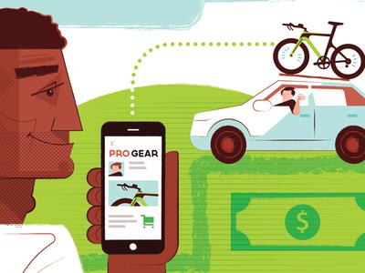 Pro Gear- for Triathlete Magazine e-commerce illustration bike