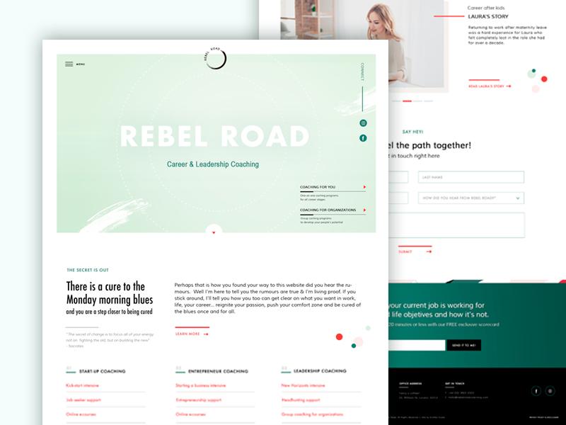 Rebel Road Home Page career coach service website business coaching website coaching website ux design ui design website design