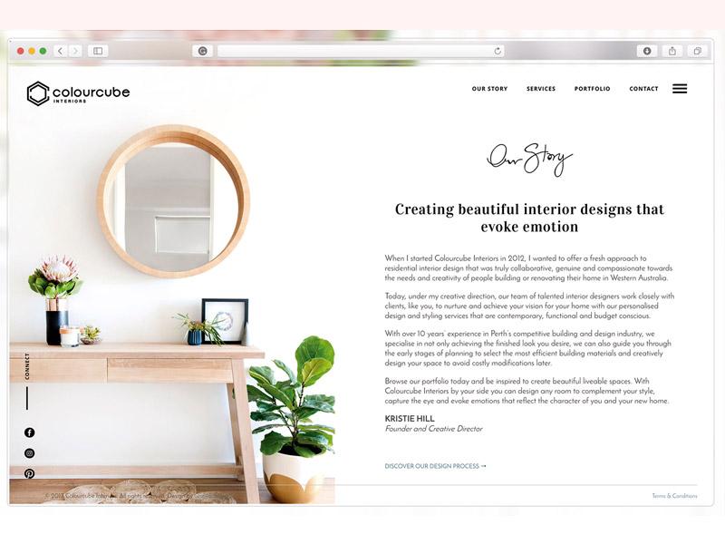 Colour Cube About Page website design website web design ui design about page interior design website interior designer website