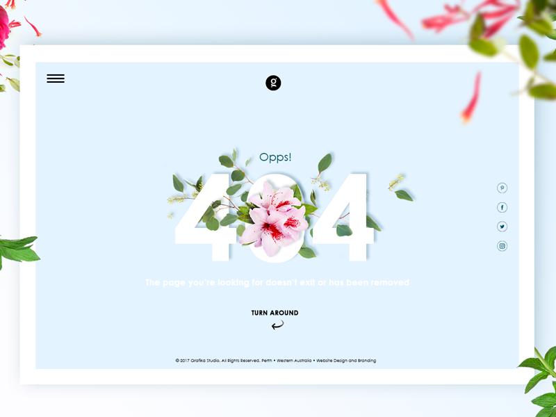 404 page error blue botanical web ux ui interface flowers flat website design background 404