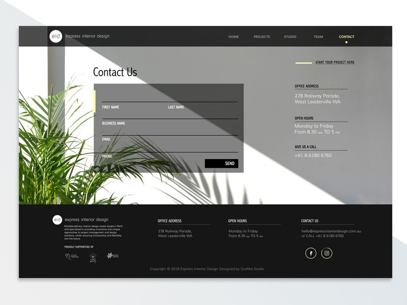 Eid Contact Page architecture website interior design website interior design web design website design ui design contact page