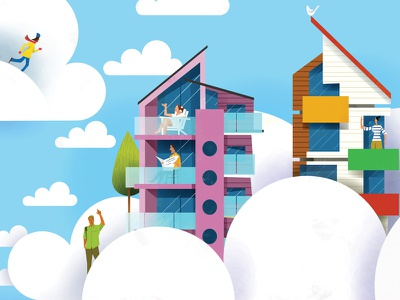 Design Prefab Communities illustration rental cloud design urban architecture