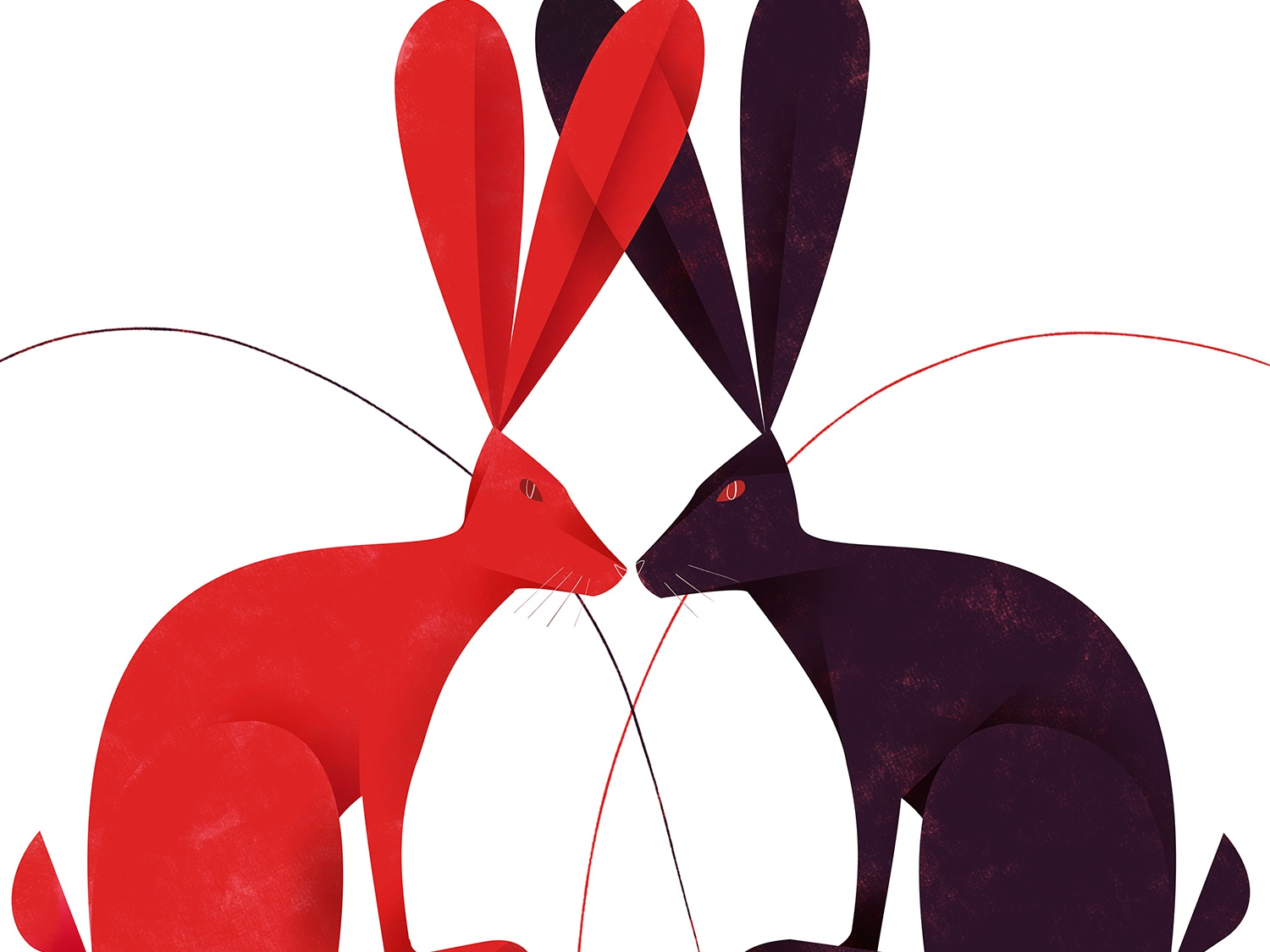 Hare We Go In Black & Red lovers romance saint valentines animal rabbit hares illustration editorial