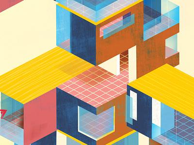 Prefab Construction illustration magazine cover cover art architecture editorial