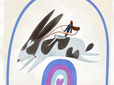 Go Bunny birthday card birthday love rabbit illustration editorial