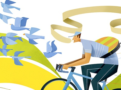 Sweeping Cycling Composition summer estate springtime tour de france concept bicycle poster bicycle cycling cycle illustration editorial