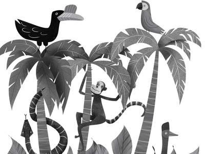 Its a jungle sort of day children book illustration educational animals illustration editorial