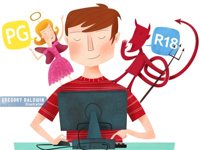 Good vs Evil in Children's On-line Activity angel devil censorship parenting illustration editorial