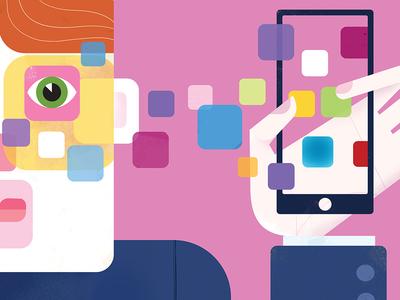 Smartphone Button Man ui facebook illustration editorial apps seo icons seo social network social media smartphone iphone apple