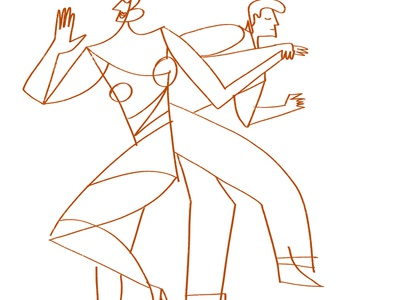 Dance Jive Two lovers illustration editorial