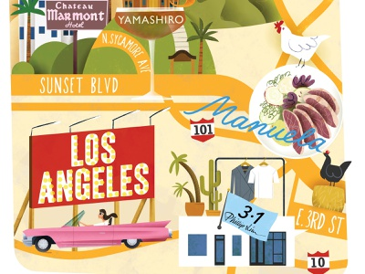 Illustrated Map of LA (detail) los angeles dining shopping illustrated map tourist travel magazine map editorial illustration