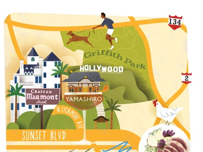 Illustrated Map of Los Angeles (detail) los angeles tourism travel magazine magazine illustration map illustration editorial