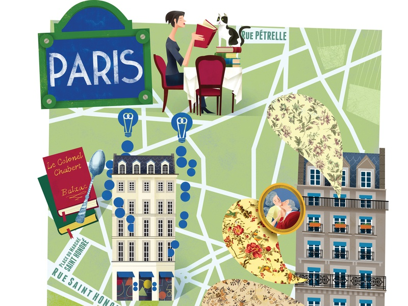 Illustrated Map of Paris lovers travel tourism magazine map illustration editorial illustrated map