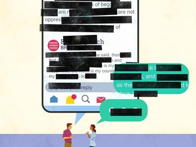 Let's Talk About Censorship Tw*!!*@ facebook twitter social media conspiracy censorship lovers illustration magazine editorial