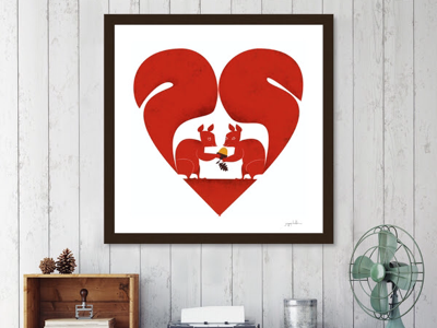 Two squirrels print curioos romance lovers squirrels