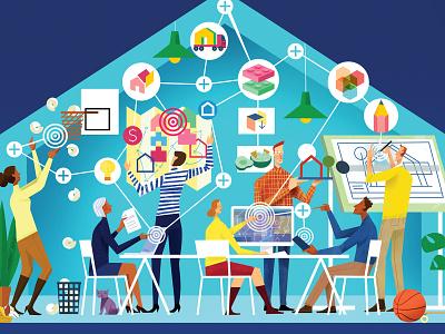 Built Offsite Magazine Cover design centered startups contech social media magazine cover magazine illustration editorial