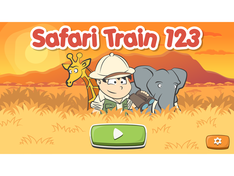 Safari Train 123 game main screen cartoon animal game development cartoon africa savanna africa cartoon elephant elephant giraffe cartoon giraffe vector illustration cartoon illustration character design illustration cartoon game cartoon ui ui cartoon character cartoon style game art cartoonish